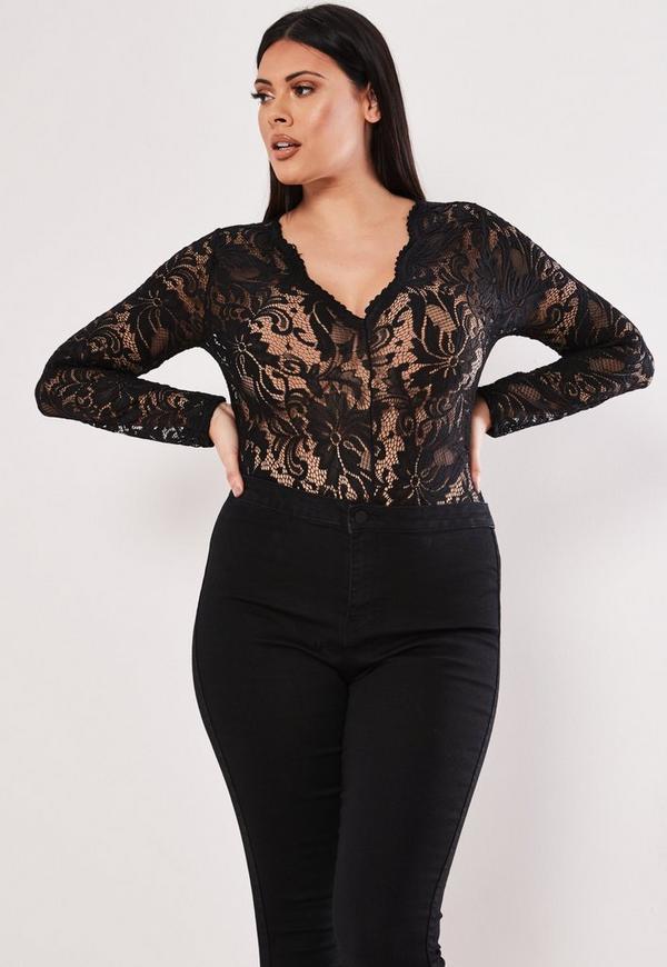 c529bb374c3ae Plus Size Black Scallop Lace Long Sleeve Bodysuit