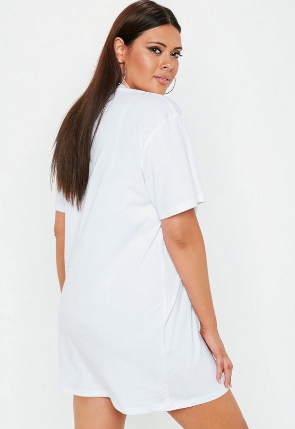 Plus Size White Usa Slogan Oversized T Shirt Dress Missguided