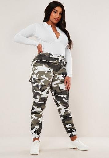 Plus Size Grey Camo Printed Combat Trousers Missguided
