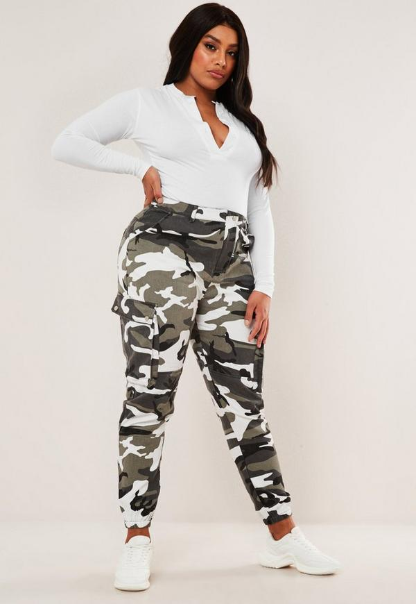Plus Size Grey Camo Printed Combat Trousers by Missguided
