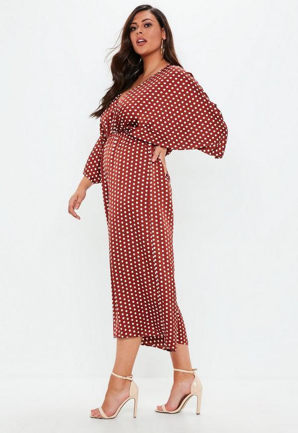 74b3f9bc34a Plus Size Brown Kimono Sleeve Culotte Polka Dot Jumpsuit. Previous Next