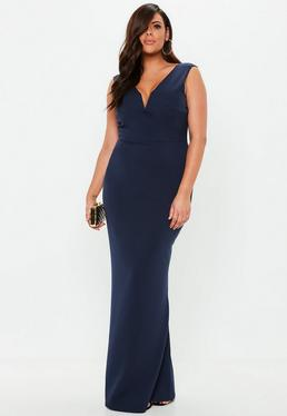 Curve Navy V Plunge Maxi Dress