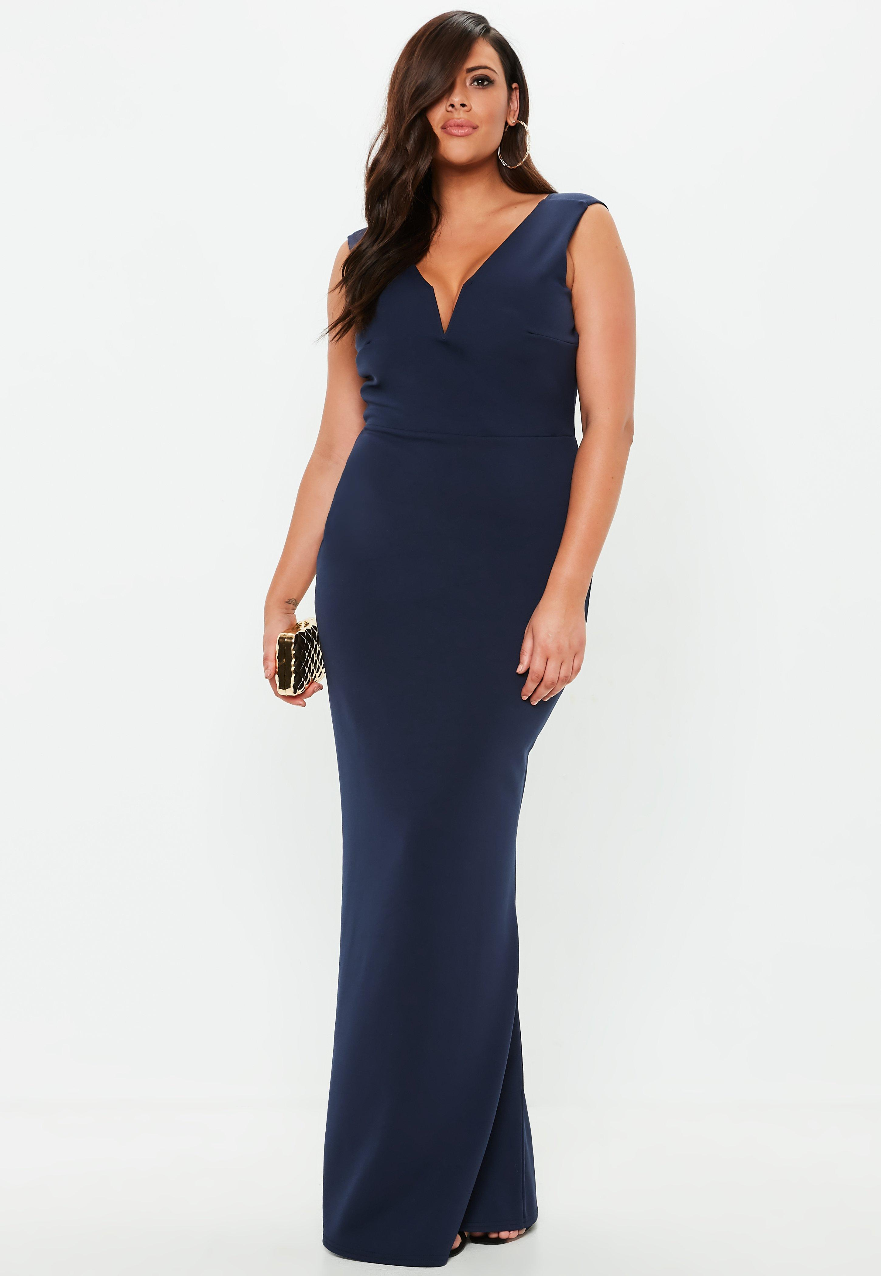 Plus Size Navy V Plunge Maxi Dress | Missguided