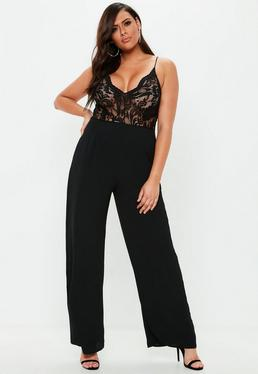 12f0a837b31d ... Plus Size Black Lace Plunge Wide Leg Jumpsuit