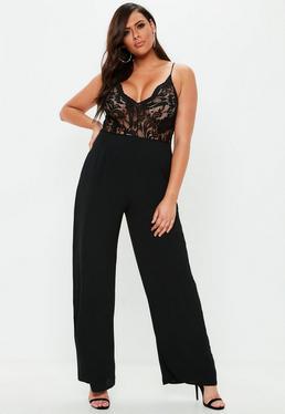 c8c106a9ffa ... Plus Size Black Lace Plunge Wide Leg Jumpsuit