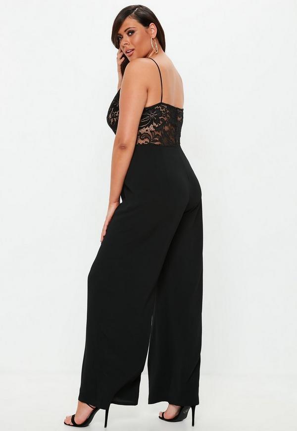 5e12f51df096 Plus Size Black Lace Plunge Wide Leg Jumpsuit. Previous Next