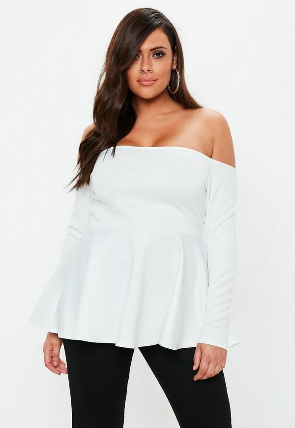 Plus Size White Bardot Peplum Top Missguided