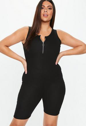 29d661ec840f Ribbed Sleeveless 3 4 Leg Unitard Jumpsuit Black