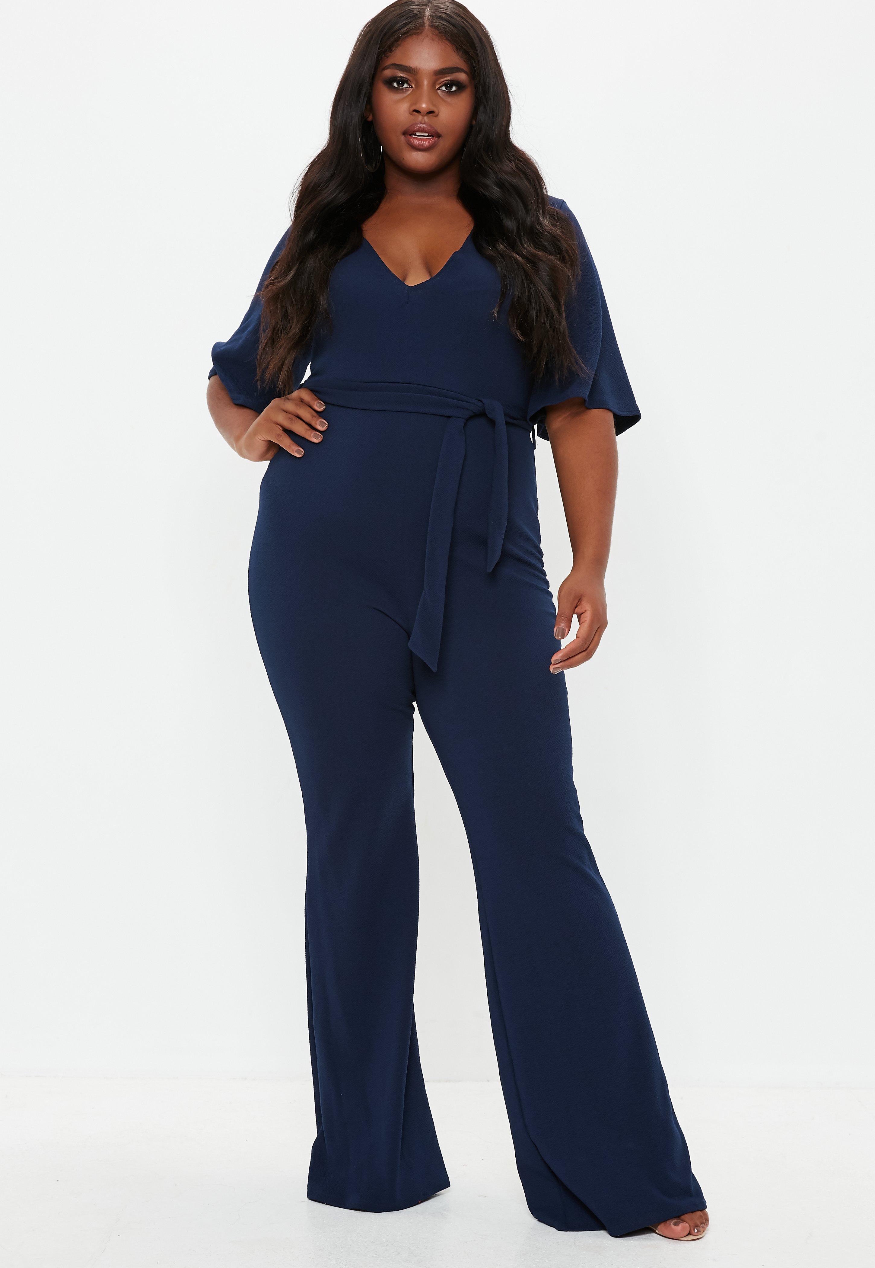 1651458e7ad Plus Size Blue Plunge Kimono Sleeve Jumpsuit