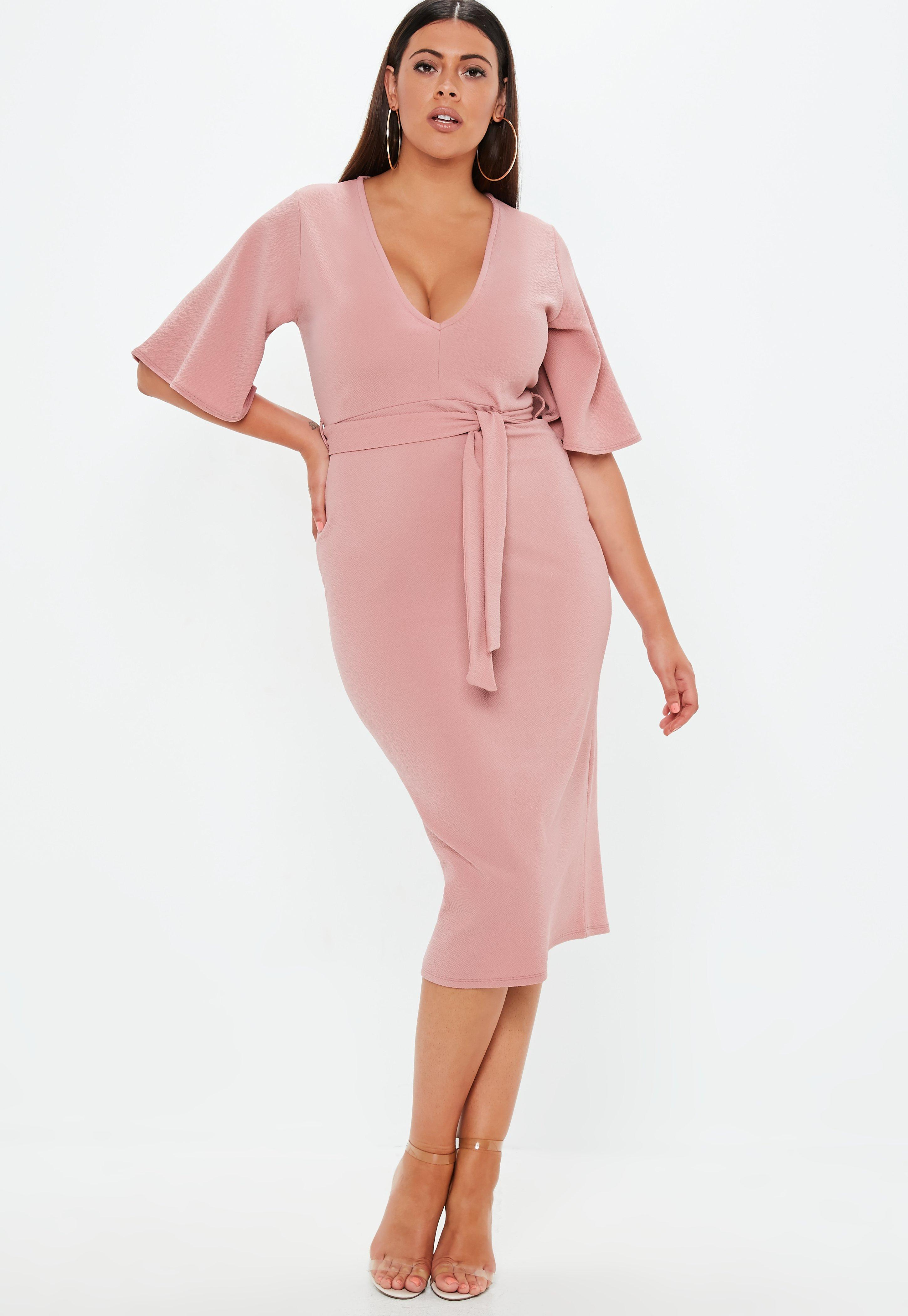 cdb1b2743994 Plus Size Pink Plunge Kimono Sleeve Midi Dress