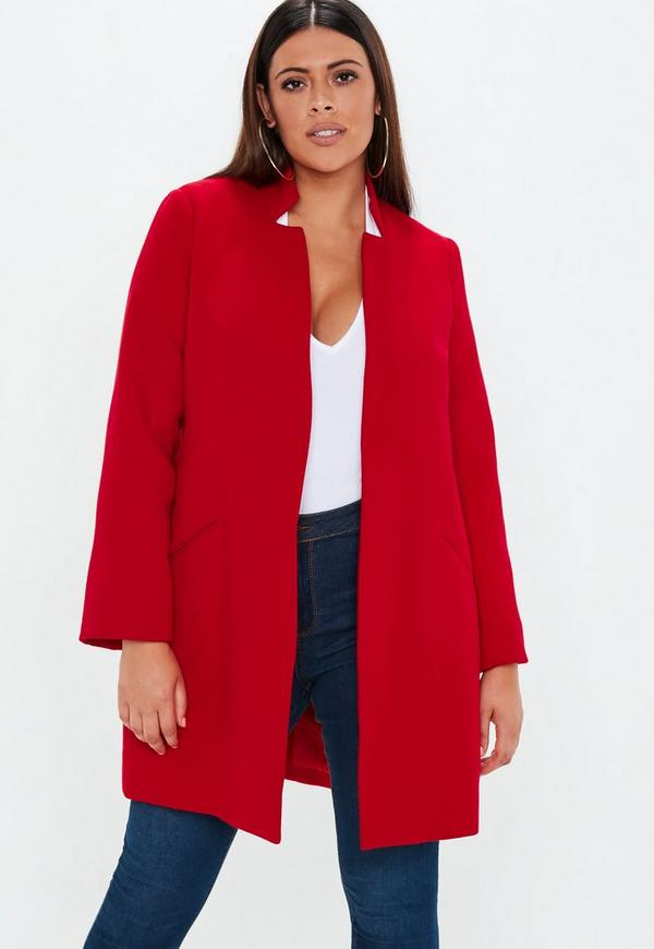 plus size red inverted collar coat