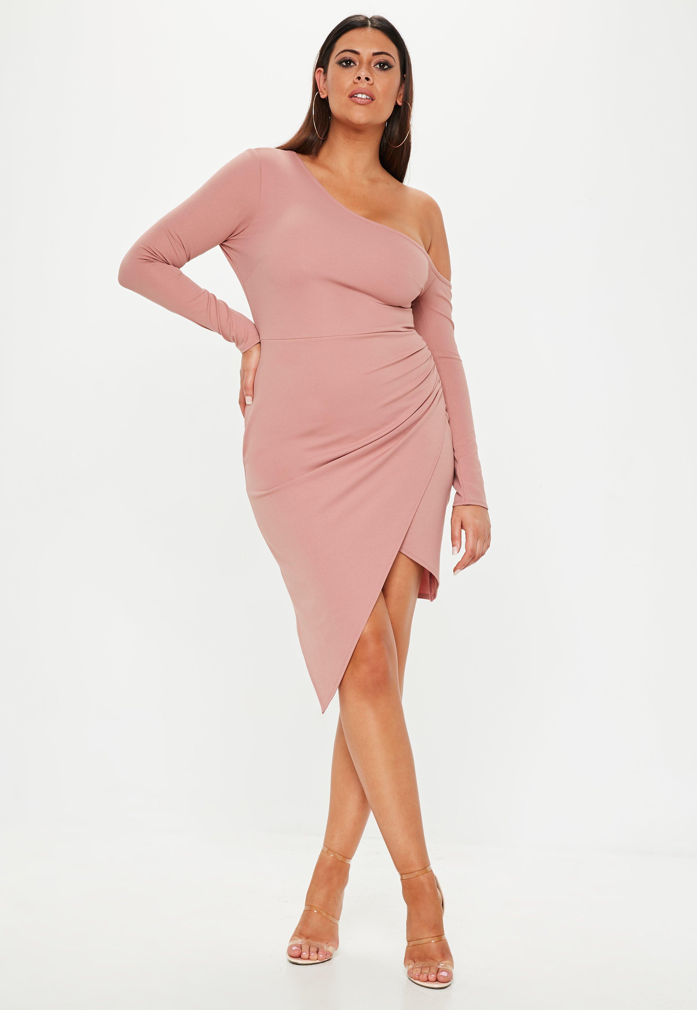 7abf464046 Plus Size Pink One Shoulder Asymmetric Dress