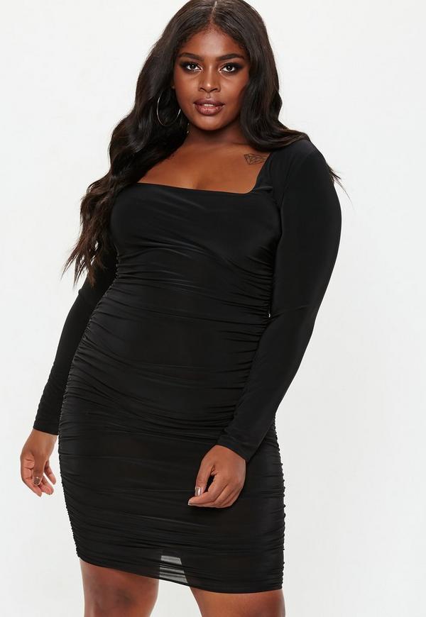 a7593b869754e Plus Size Black Square Neck Midi Dress