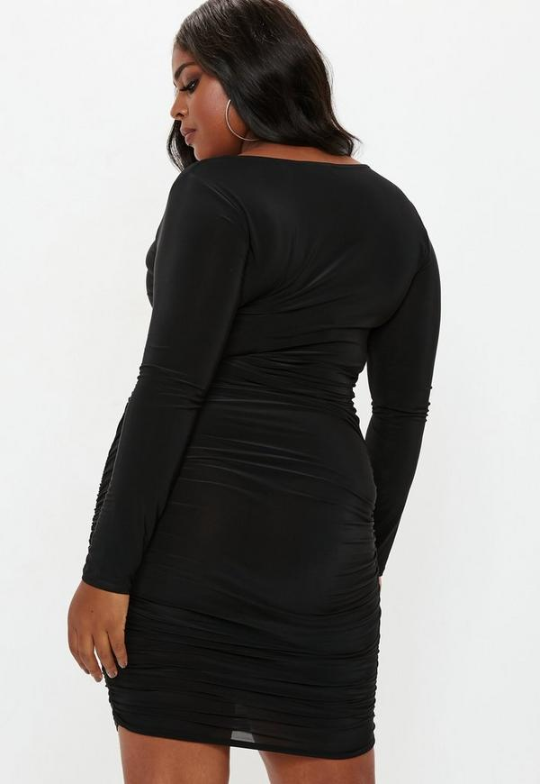 c492098927b2a Plus Size Black Square Neck Midi Dress. Previous Next