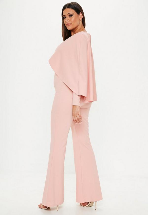 Plus Size Pink Cape Detail Plunge Jumpsuit Missguided