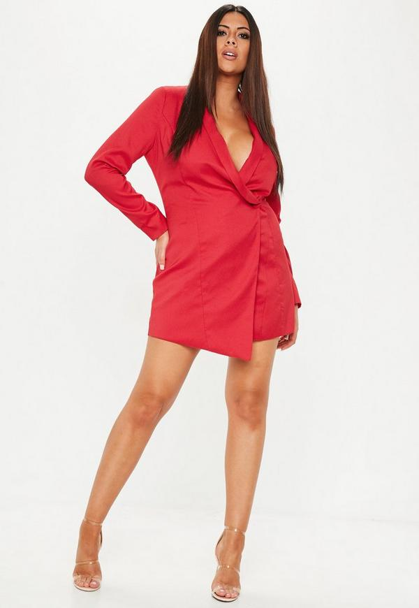 Plus Size Red Blazer Dress Missguided