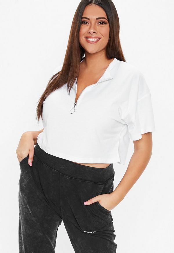Plus Size White Ringpull Zip Detail T Shirt Missguided