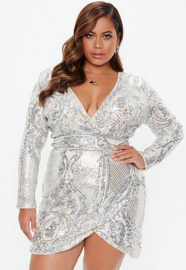 Plus Size Silver Sequin Wrap Mini Dress