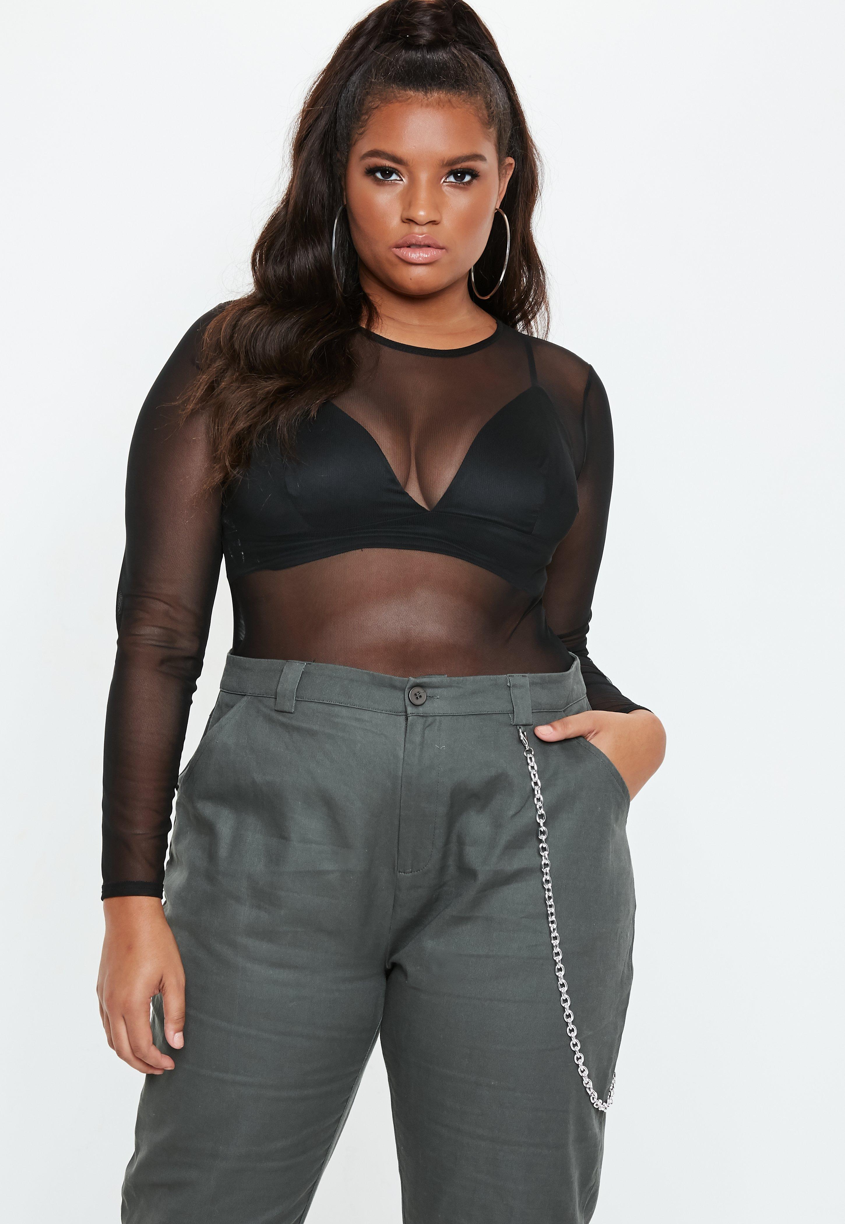 Plus Size Black Roundneck Mesh Bodysuit ce7a32180