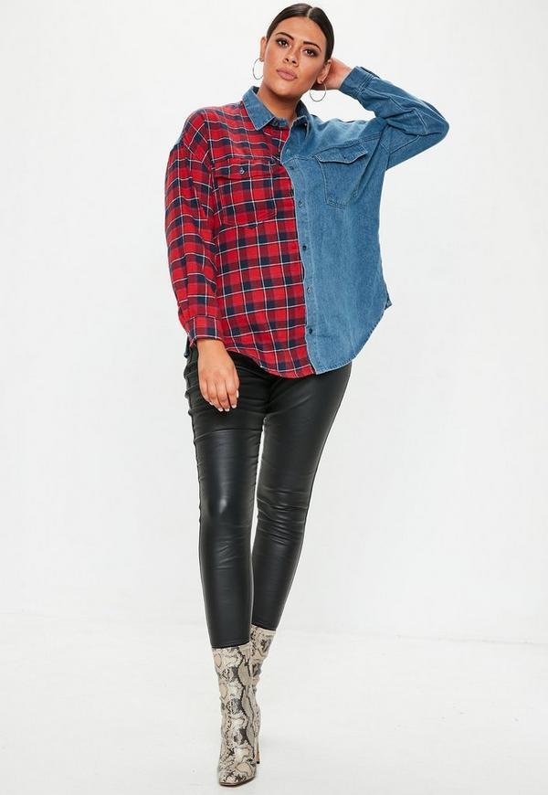 Plus Size Denim Blue Plaid Shirt Missguided