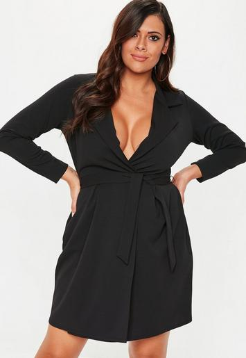Plus Size Black Collar Shift Dress Missguided