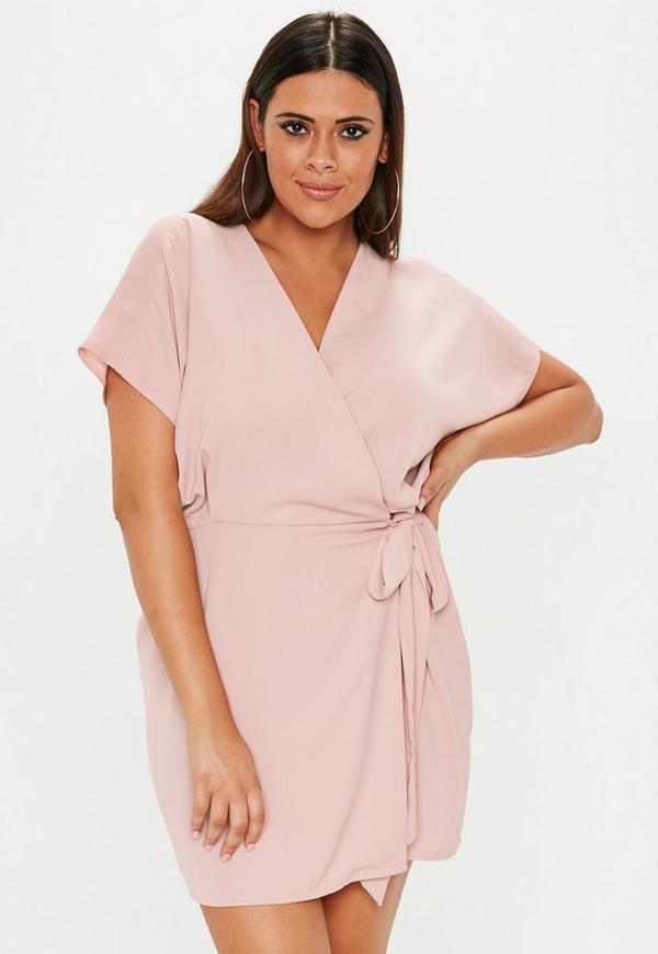 Plus Size Pink Kimono Sleeve Wrap Front Dress  ead29ceef