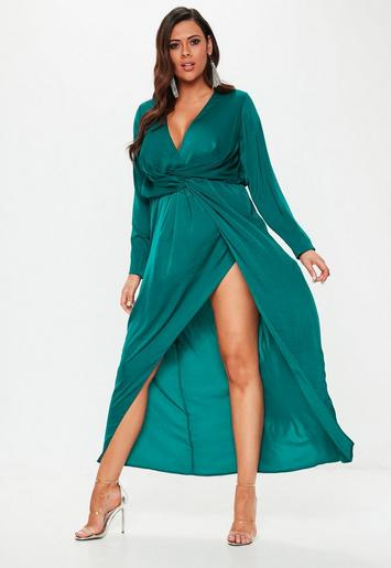 Plus Size Teal Wrap Knot Front Maxi Dress Missguided