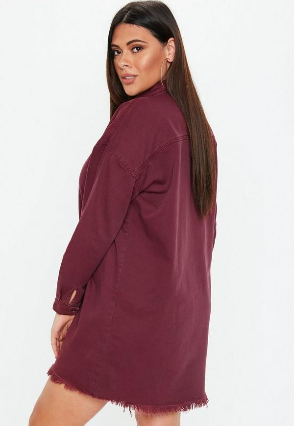 Plus Size Wine Oversized Denim Shirt Dress Missguided