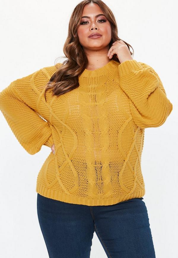 bd8884faca1 ... Plus Size Mustard Balloon Sleeve Sweater. Previous Next
