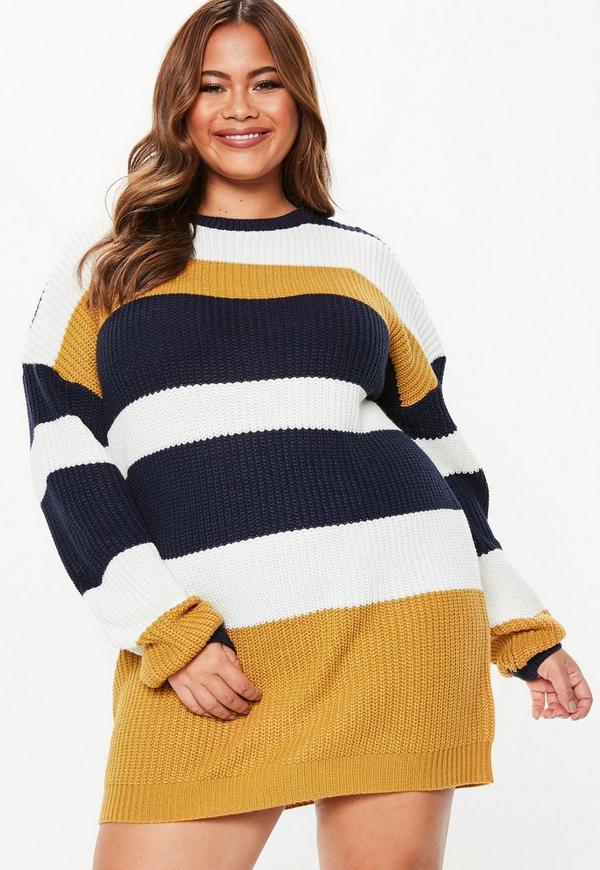 31a57d4f870 Plus Size Mustard Crew Neck Striped Jumper Dress