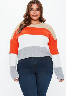 f0eff8b97 Plus Size Red Crew Neck Colour Block Stripe Jumper · missguided plus