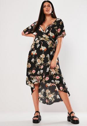 7e54b4c212 Plus Size Black Kimono Sleeve Polka Dot Jumpsuit   Missguided