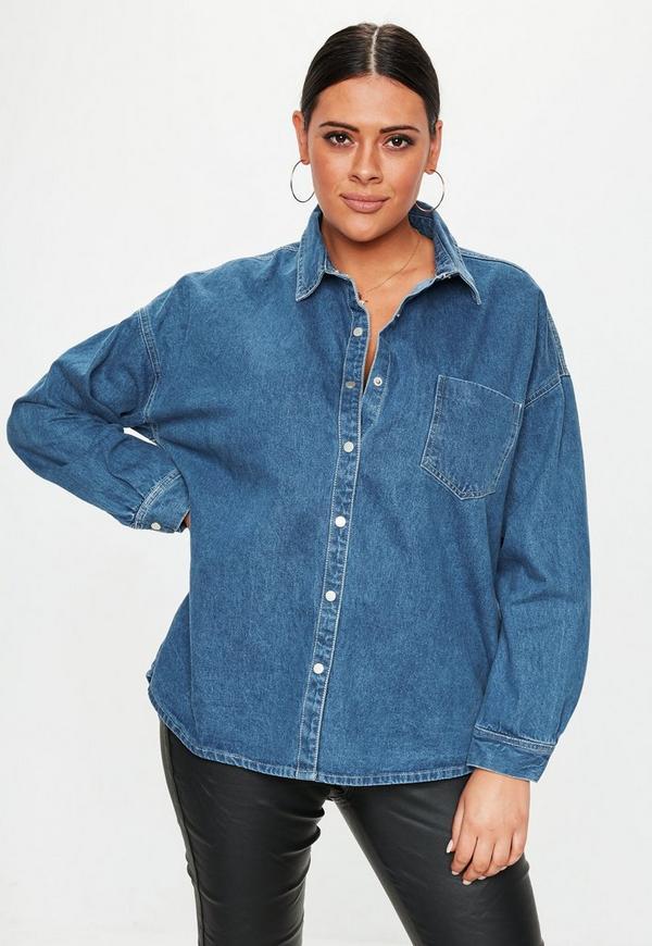 Plus Size Blue Oversized Denim Shirt Missguided