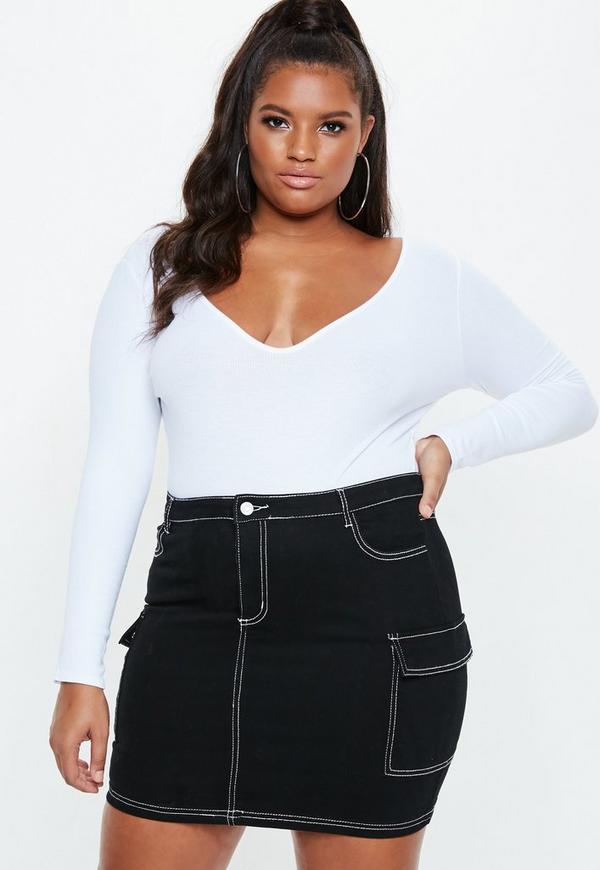 ec371038ac6 Plus Size Black Contrast Stitch Denim Skirt