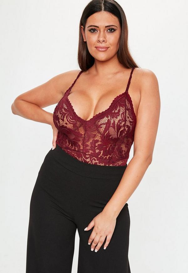 Plus Size Burgundy Lace Bodysuit  0425ab90e