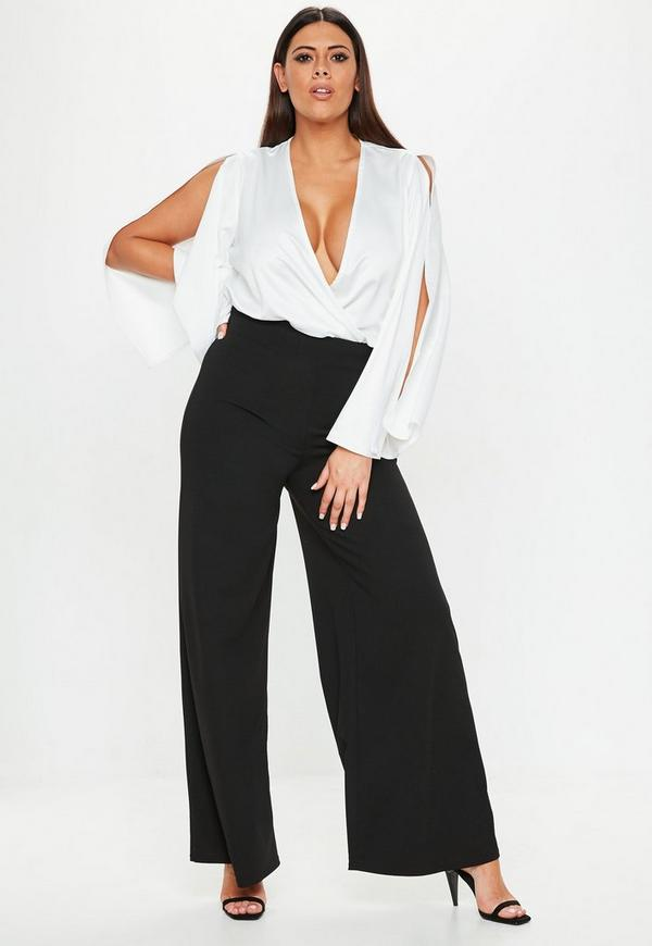 Plus Size Black High Waisted Wide Leg Pants Missguided