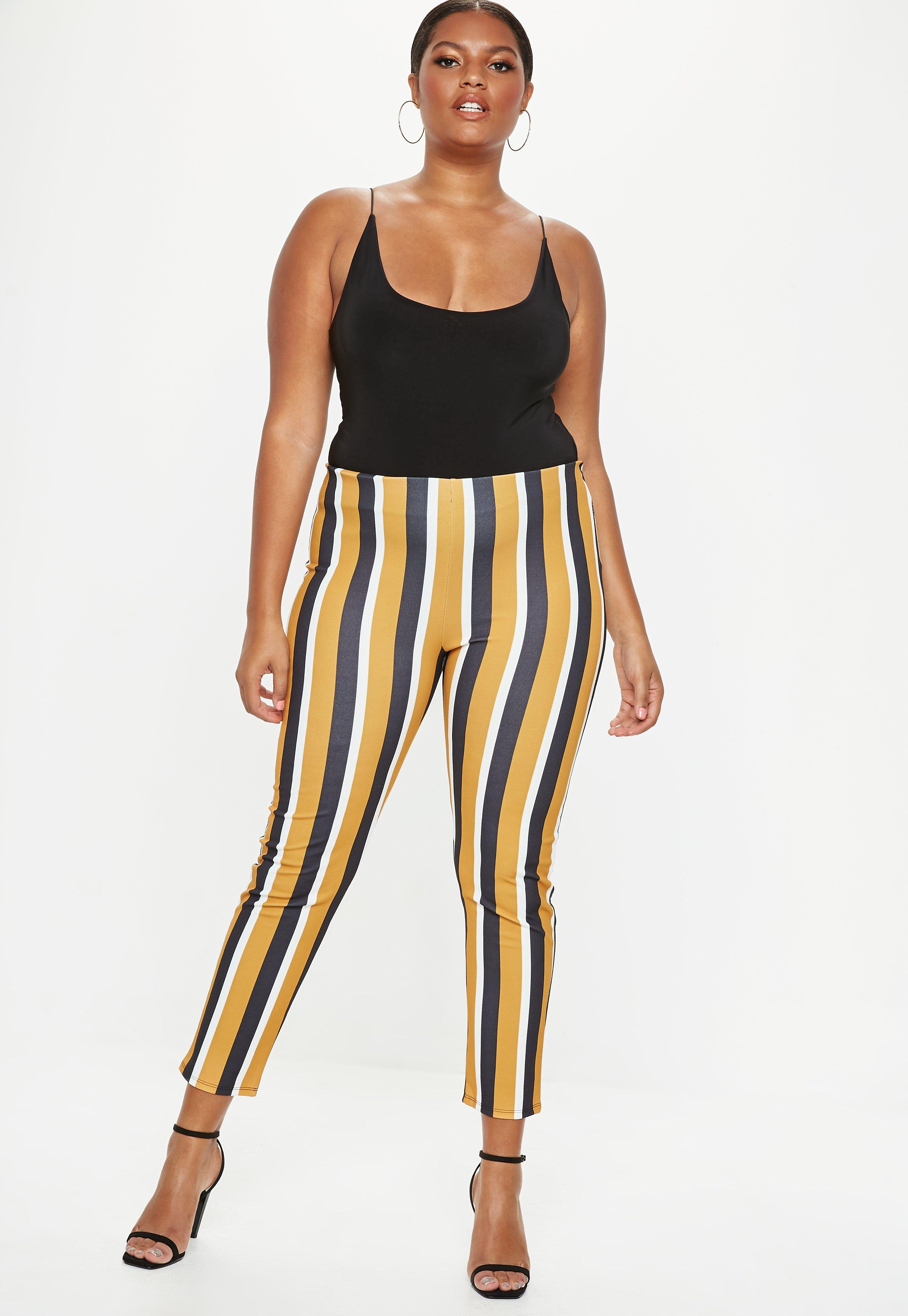f2d2bbfb3 Plus Size Mustard Stripe Tapered Trousers