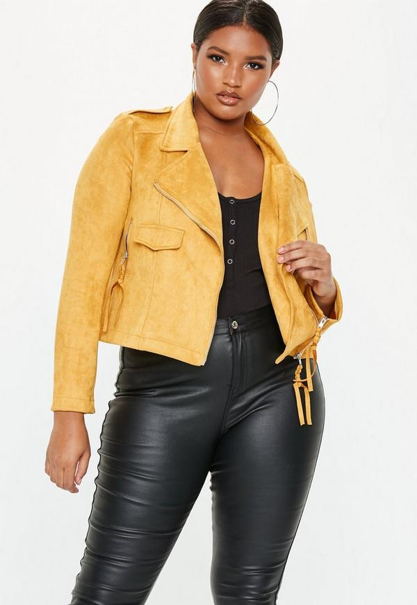 215d14cb9c2 ... Plus Size Mustard Suede Biker Jacket. Previous Next
