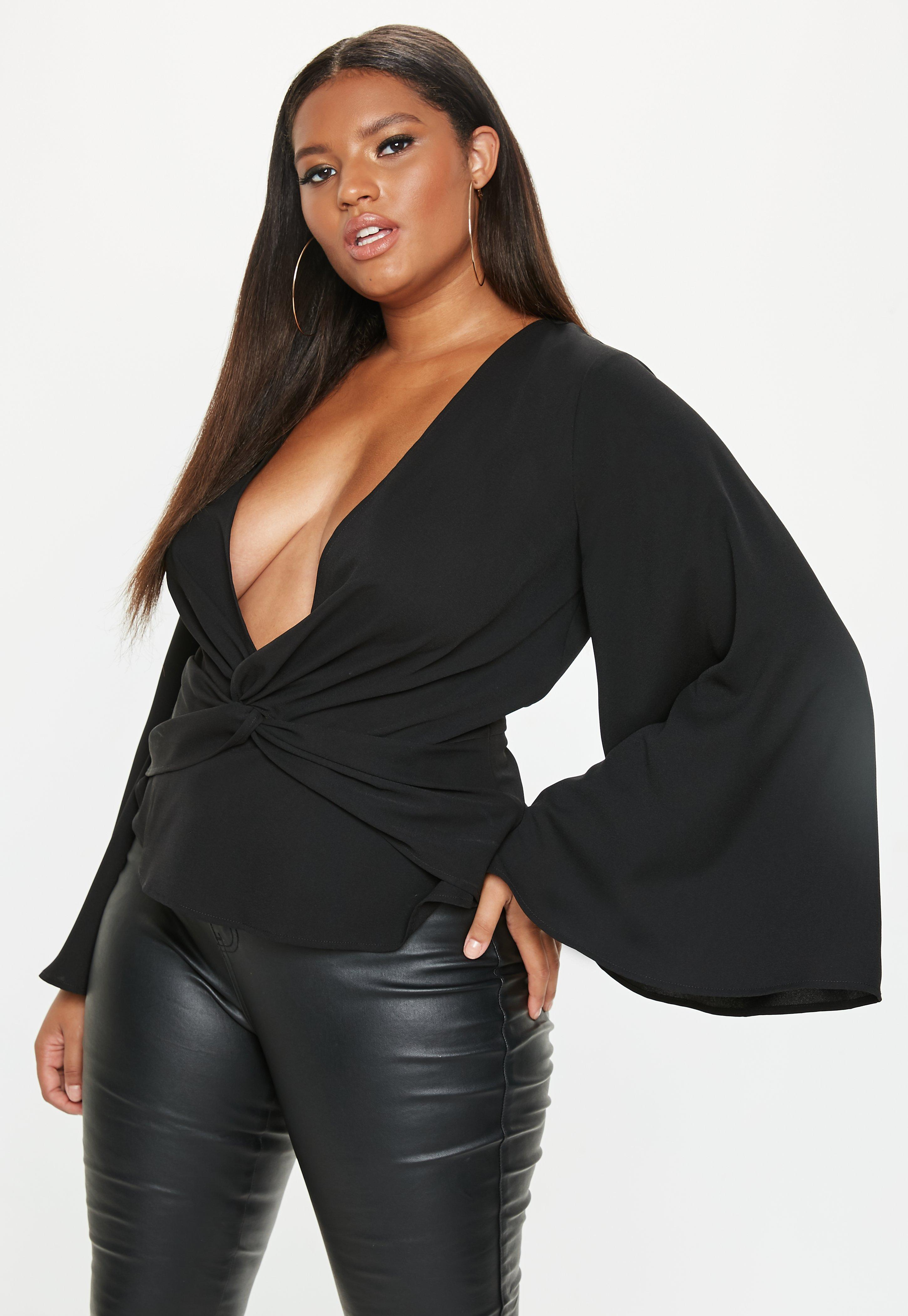 9775481eea9781 Plus Size Black Twist Front Top | Missguided