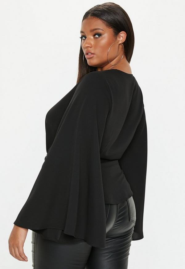 4709ec2a964d4b Plus Size Black Twist Front Top | Missguided Ireland