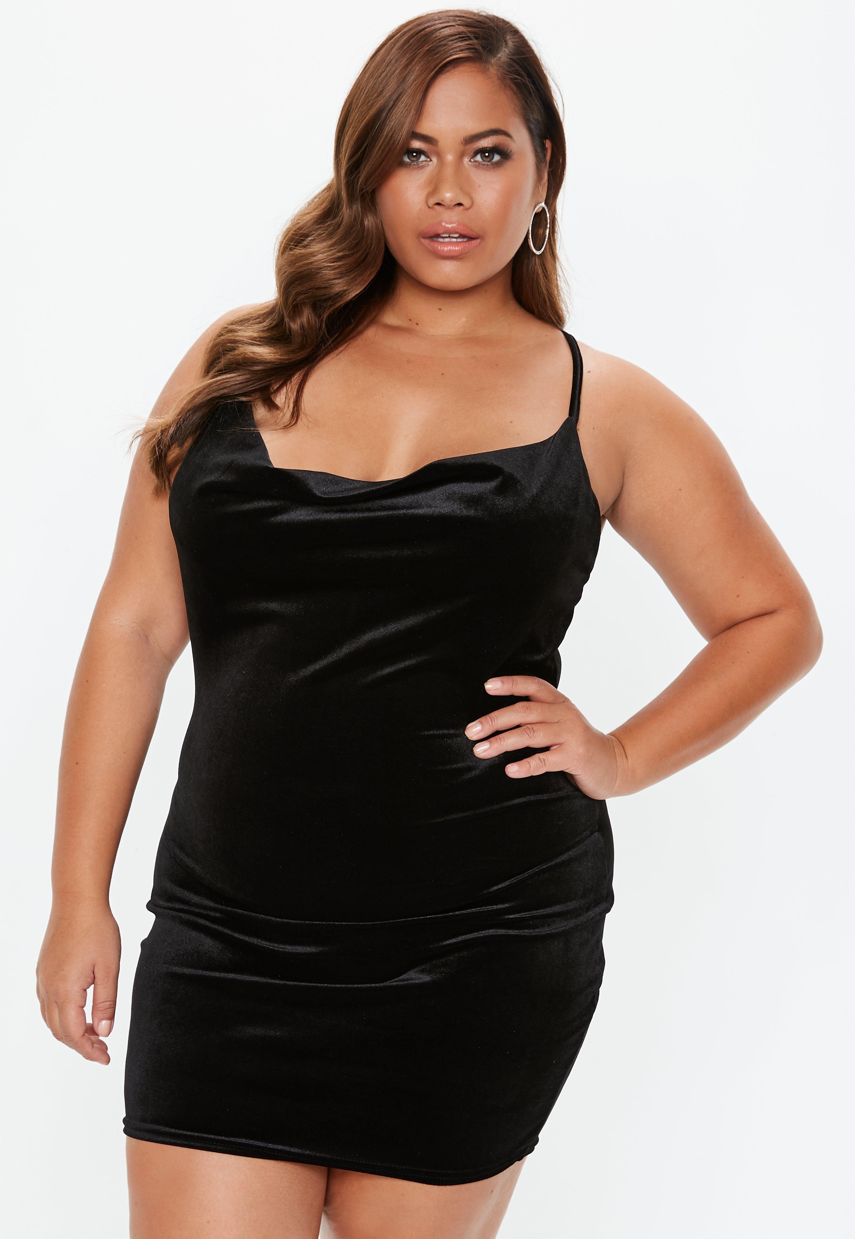 7329bf9b286 Plus Size Black Cowl Neck Strappy Velvet Dress | Missguided