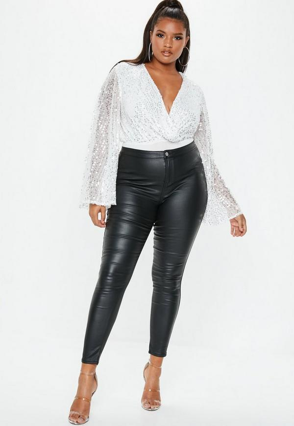 2f8f1be3 Plus Size White Sequin Plunge Bodysuit | Missguided Australia