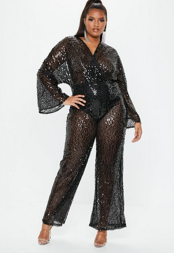 622bc9503e ... Black Sequin Plunge Flared Jumpsuit. Previous Next