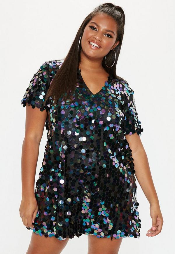 8a8a304a633 Plus Size Black V Neck Sequin T Shirt Dress