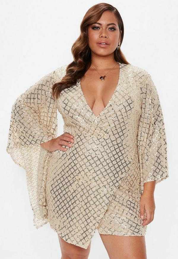 Plus Size Gold Sequin Wrap Mini Dress Missguided