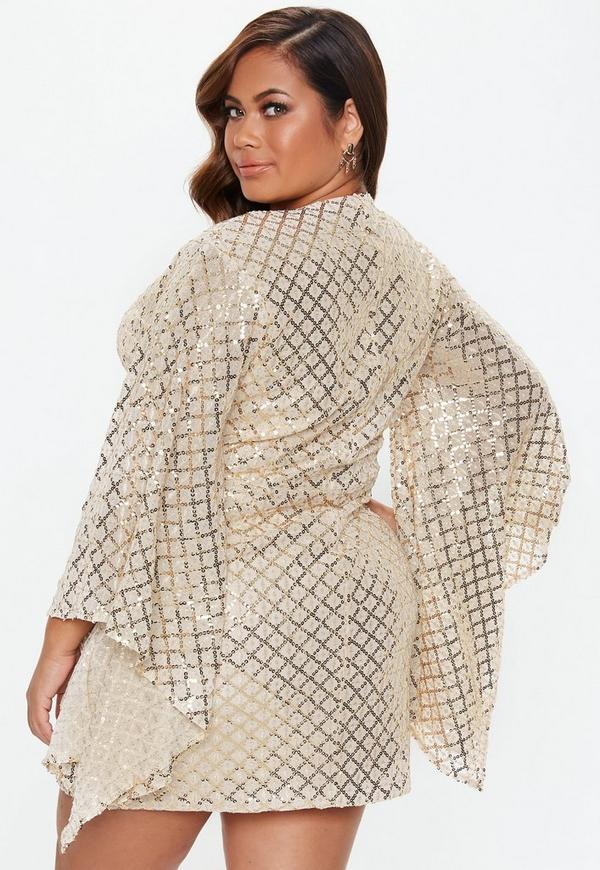 ... Plus Size Gold Sequin Wrap Mini Dress. Previous Next 6c640a419