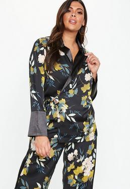 9c30d160f79 ... Plus Size Floral Contrast Collar Tie Waist Blazer