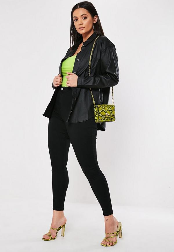 3a0eb3e8156 ... Plus Size Black Coated Oversized Shirt. Previous Next