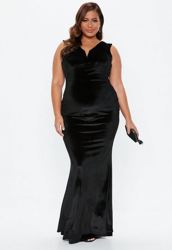 Plus Size Black V Bar Velvet Maxi Dress