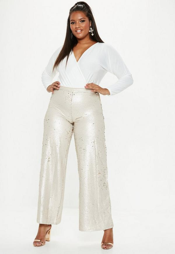 f8ff18b3b plus size gold flat sequin wide leg trousers. $36.00. plus size gold v neck sequin  t shirt dress